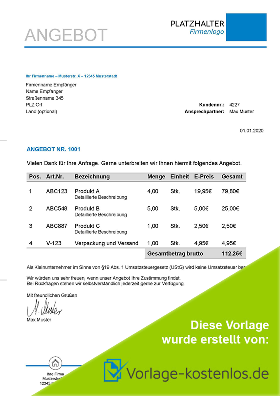 Angebotsvorlage Kleinunternehmer Muster-Beispiel & Vordruck zum Download von vorlage-kostenlos.de