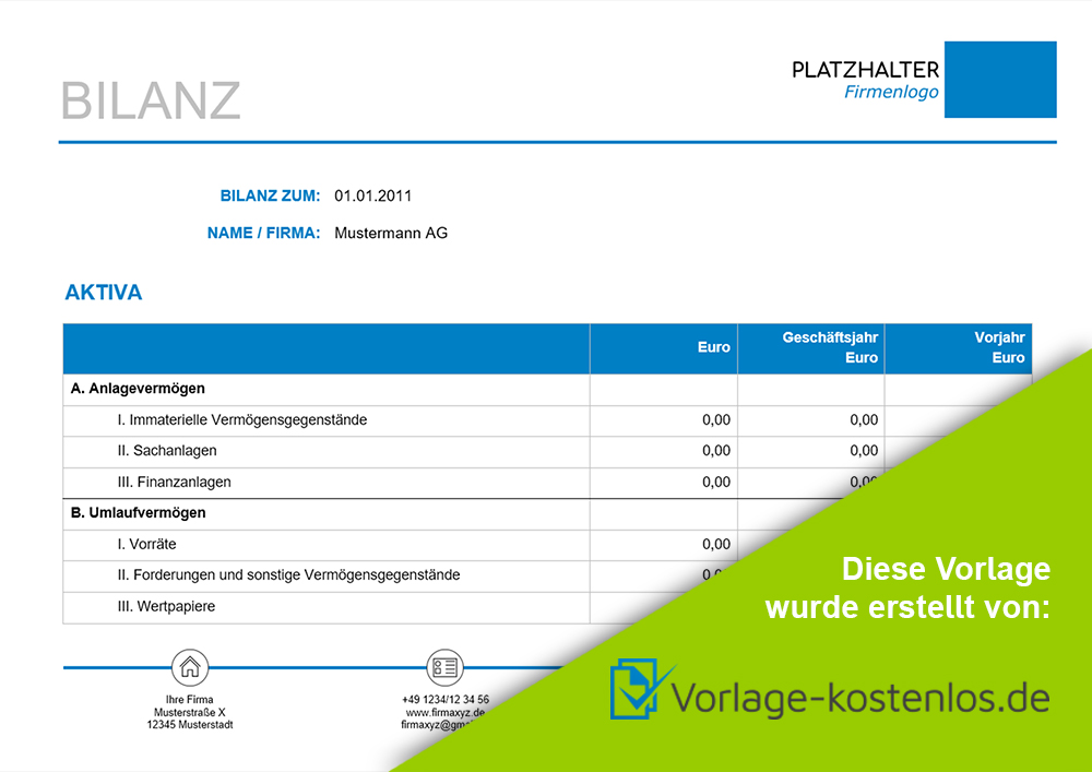 Bilanz Muster-Beispiel & Vordruck zum Download von vorlage-kostenlos.de