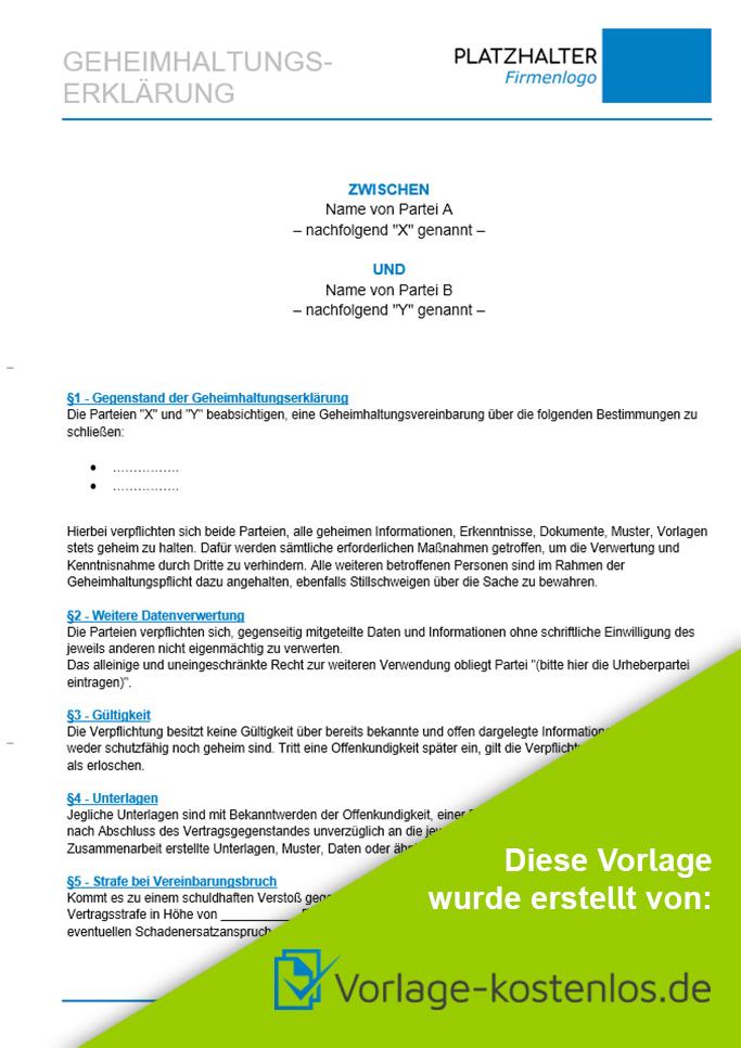 Geheimhaltungserklaerung Muster-Beispiel & Vordruck zum Download von vorlage-kostenlos.de