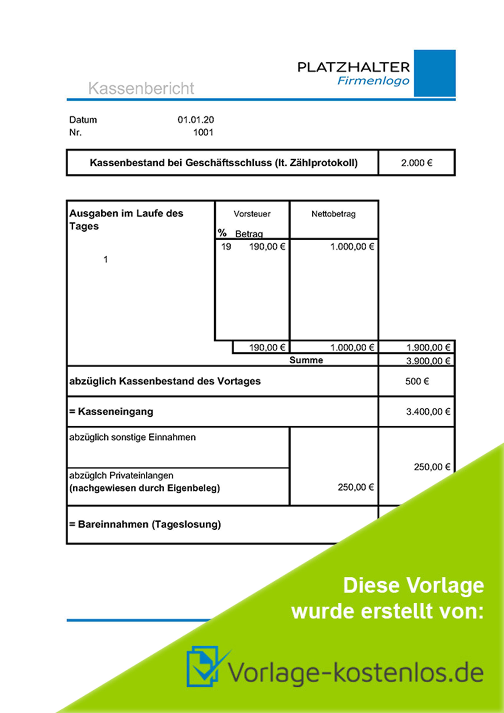 Kassenbericht Vorlage Muster-Beispiel & Vordruck zum Download von vorlage-kostenlos.de