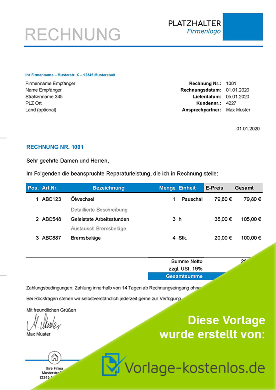 Kfz Rechnung Muster Kostenloser Word Excel Download