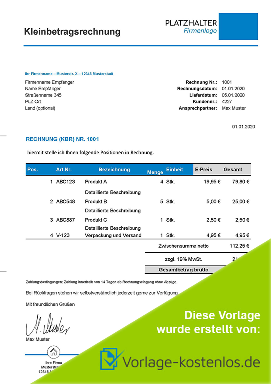 Kleinbetragsrechnung Muster Muster-Beispiel & Vordruck zum Download von vorlage-kostenlos.de