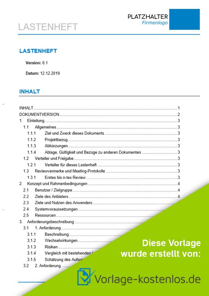 Lastenheft Muster-Beispiel & Vordruck zum Download von vorlage-kostenlos.de