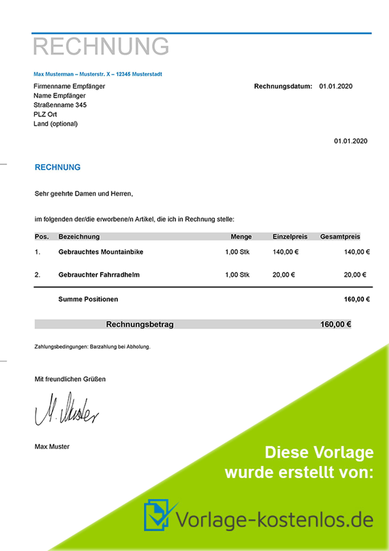 Privatrechnung Vorlage Muster-Beispiel & Vordruck zum Download von vorlage-kostenlos.de