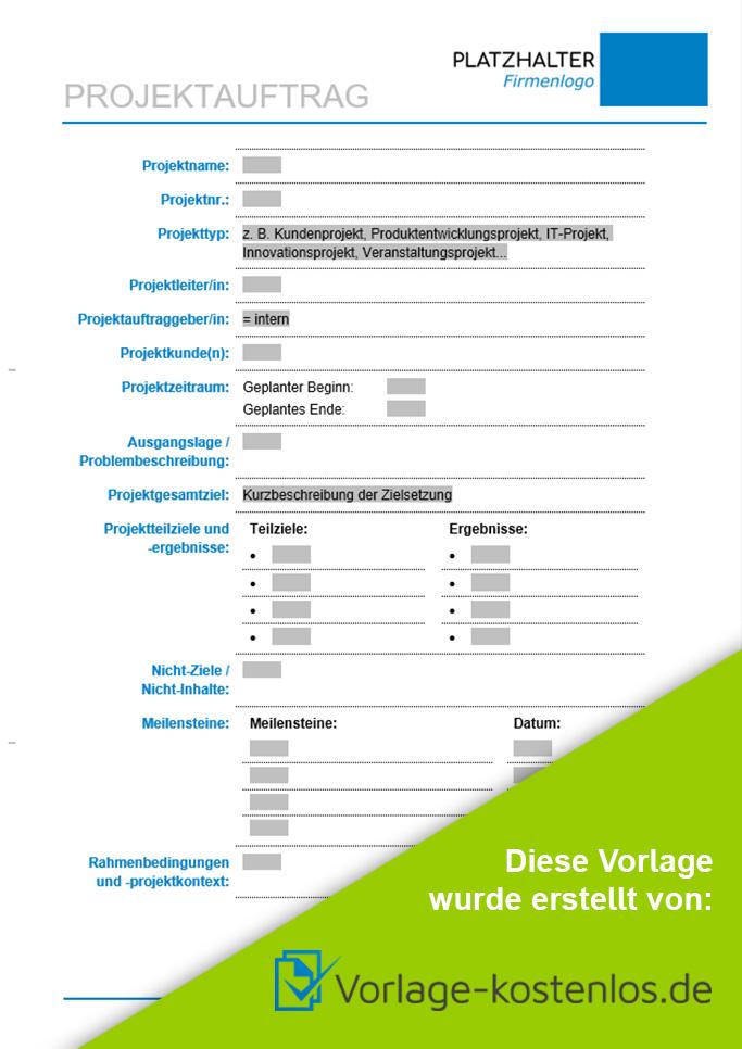 Projektauftrag Muster-Beispiel & Vordruck zum Download von vorlage-kostenlos.de