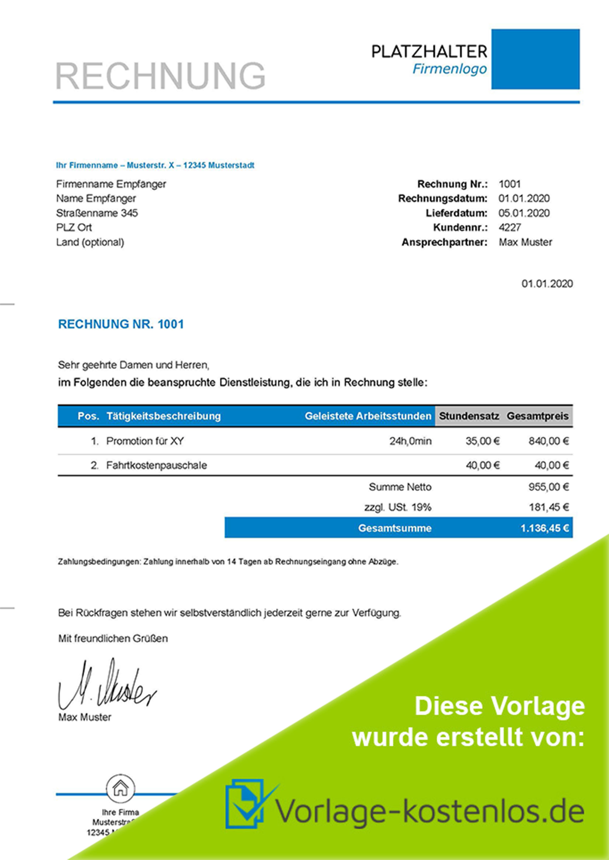 Rechnungsvorlage Dienstleistung Muster-Beispiel & Vordruck zum Download von vorlage-kostenlos.de