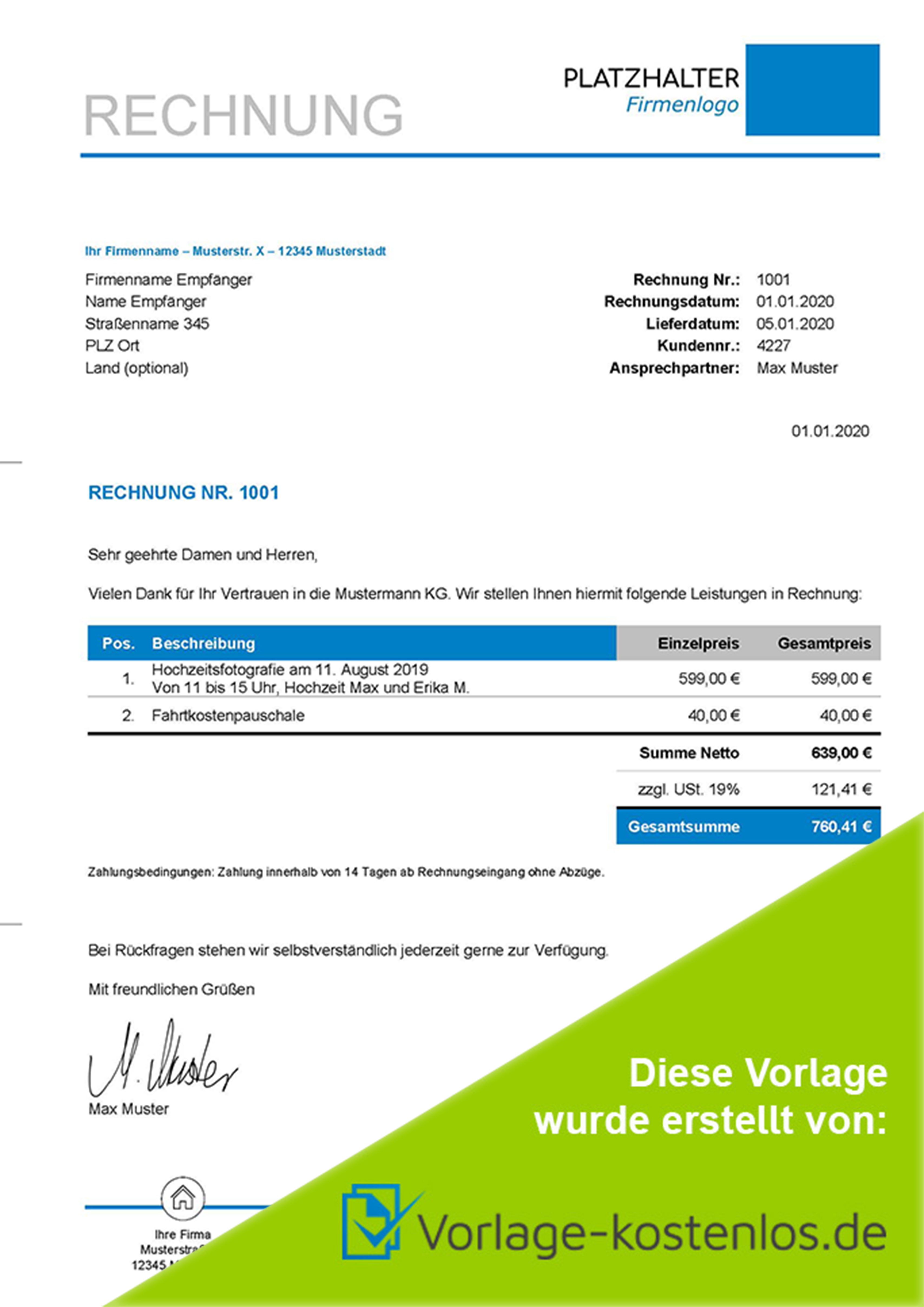 Rechnungsvorlage Fotograf Muster-Beispiel & Vordruck zum Download von vorlage-kostenlos.de