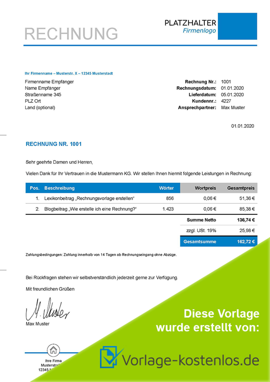 Rechnungsvorlage Freiberufler Muster-Beispiel & Vordruck zum Download von vorlage-kostenlos.de