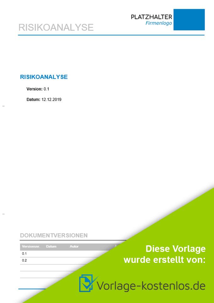Risikoanalyse Muster-Beispiel & Vordruck zum Download von vorlage-kostenlos.de