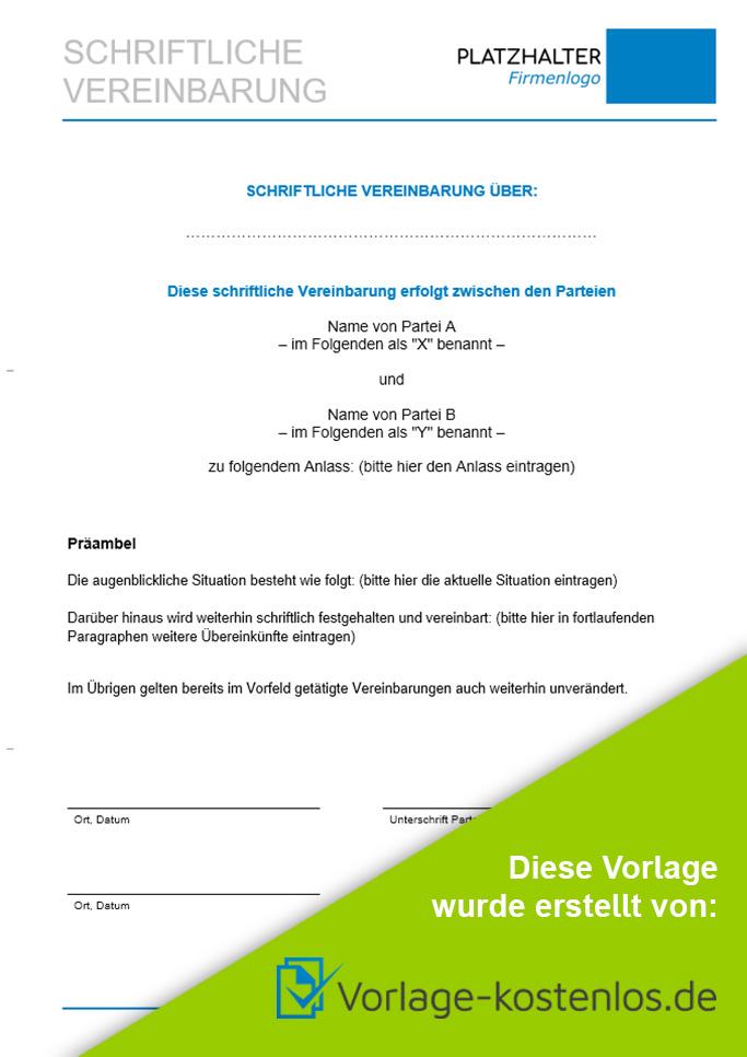 Schriftliche Vereinbarung Muster-Beispiel & Vordruck zum Download von vorlage-kostenlos.de