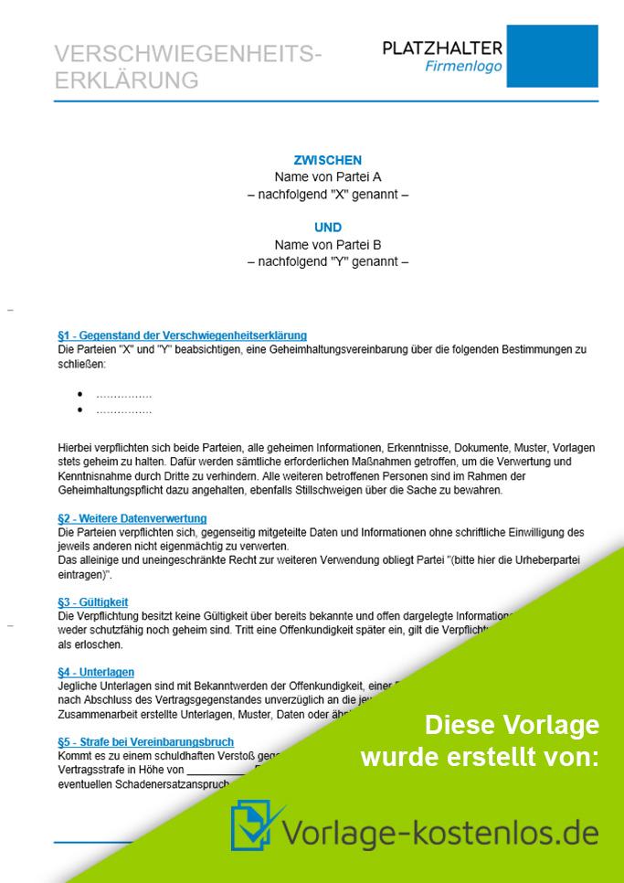 Vertraulichkeitsvereinbarung Muster-Beispiel & Vordruck zum Download von vorlage-kostenlos.de