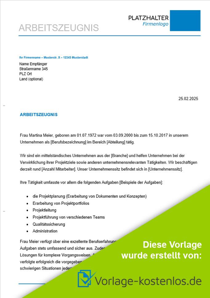 Arbeitszeugnis Muster-Beispiel & Vordruck zum Download von vorlage-kostenlos.de