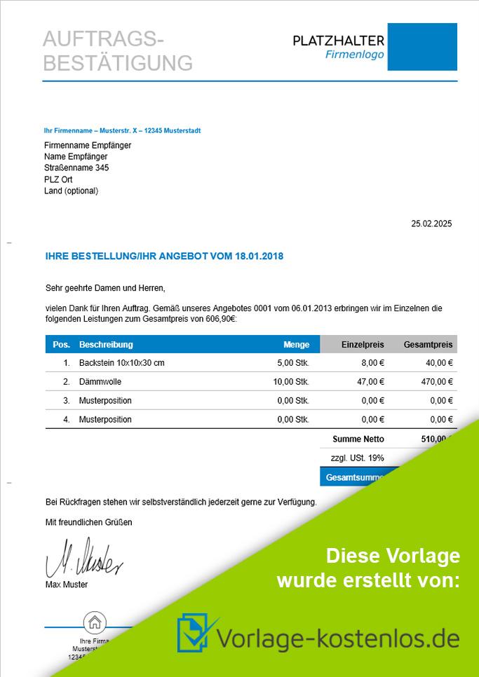 Auftragsbestaetigung Muster-Beispiel & Vordruck zum Download von vorlage-kostenlos.de