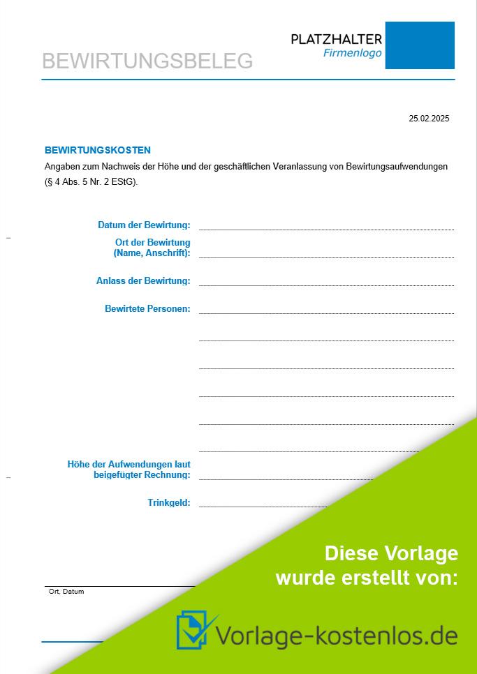 Bewirtungsbeleg Muster Kostenlose Vorlage Zum Download