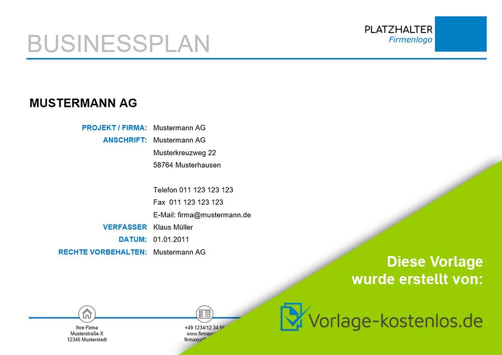 businessplan muster beispiel vordruck zum download von vorlage kostenlos de - Businessplan Muster Kostenlos
