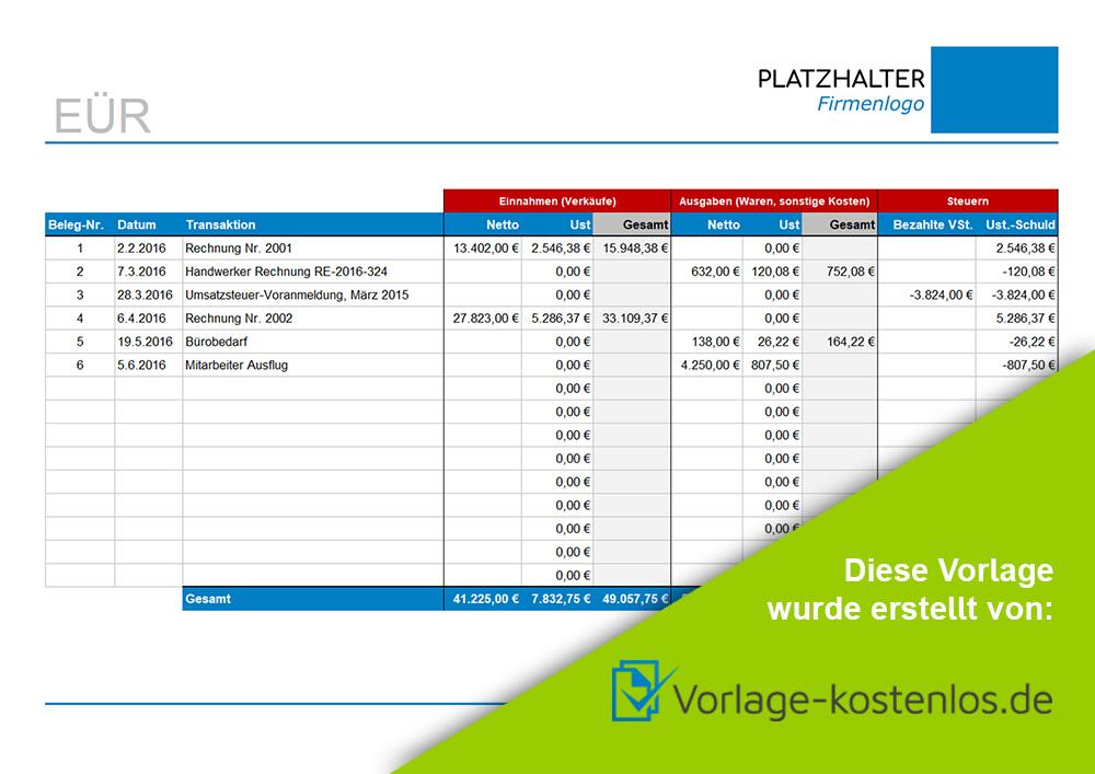 einnahmen ueberschuss rechnung muster beispiel vordruck zum download von vorlage kostenlosde - Einnahme Uberschuss Rechnung Muster