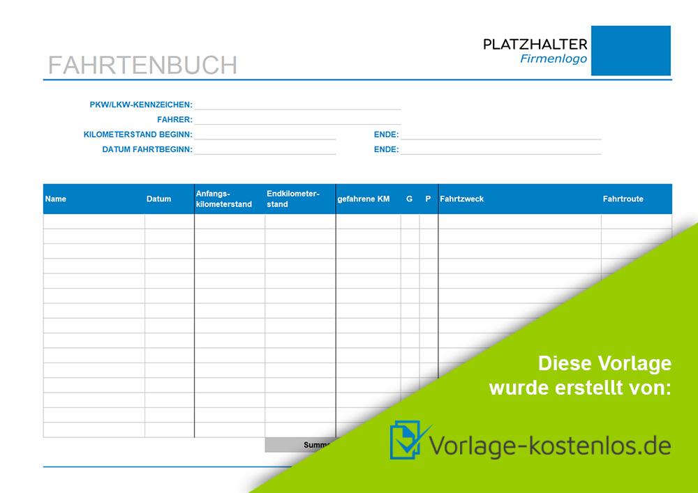 fahrtenbuch muster beispiel vordruck zum download von vorlage kostenlosde - Fahrtenbuch Muster