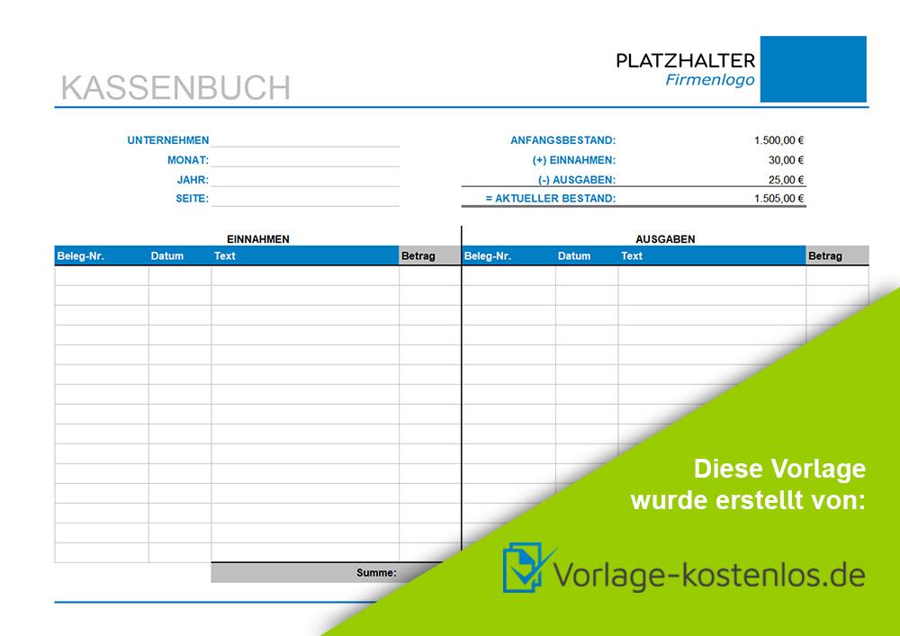 Kassenbuch Muster-Beispiel & Vordruck zum Download von vorlage-kostenlos.de
