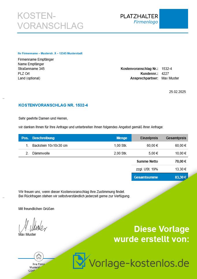 Kostenvoranschlag Muster-Beispiel & Vordruck zum Download von vorlage-kostenlos.de