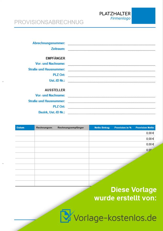 provisionsabrechnung muster beispiel vordruck zum download von vorlage kostenlosde - Provisionsvereinbarung Muster