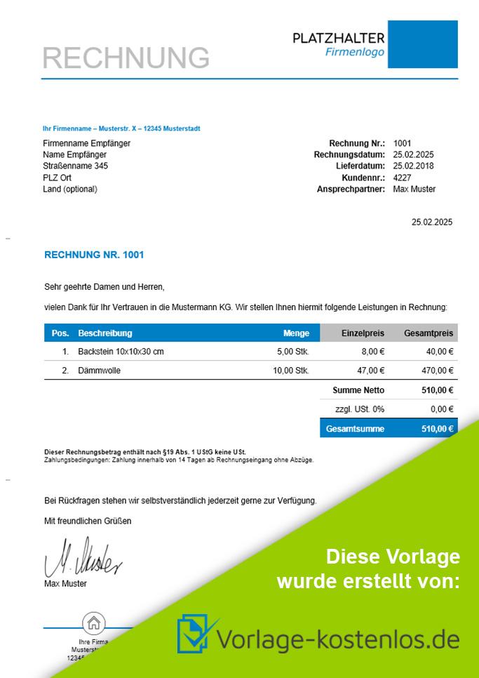 Rechnung Ohne Umsatzsteuer Muster-Beispiel & Vordruck zum Download von vorlage-kostenlos.de