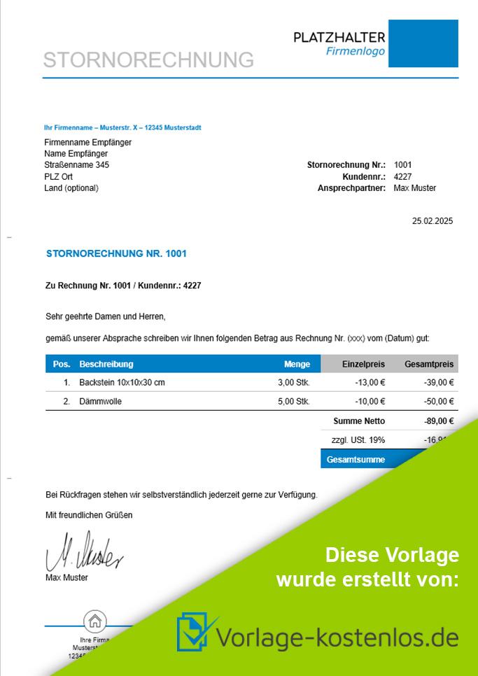 Stornorechnung Muster Kostenlose Vorlage Anleitung Zum Download
