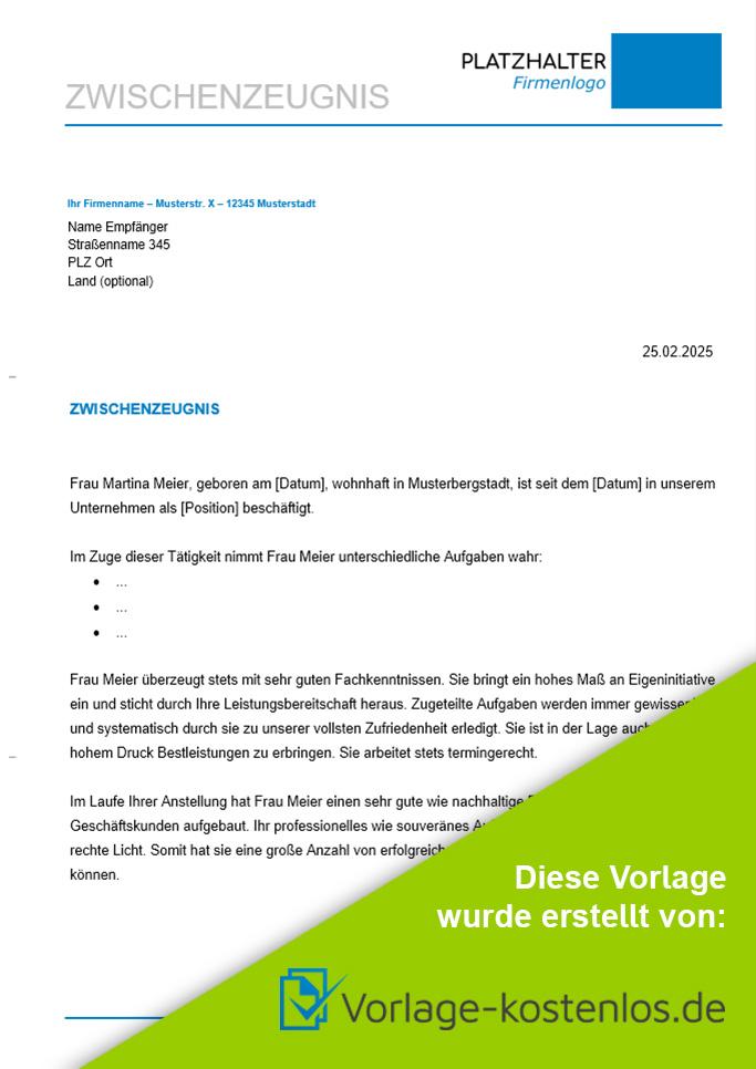 Zwischenzeugnis Muster Kostenlose Vorlage Anleitung Zum Download