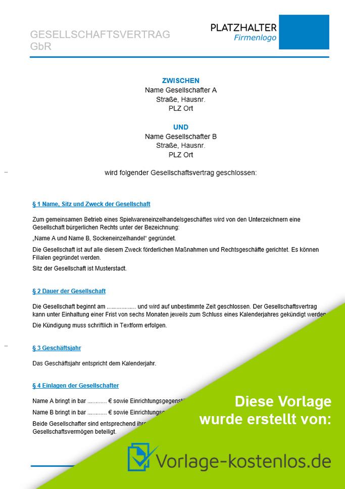 Gbr Vertrag Muster-Beispiel & Vordruck zum Download von vorlage-kostenlos.de